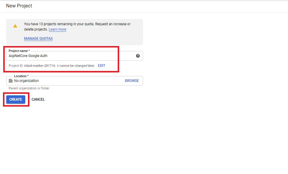 Google authentication - create client id and secret Step 2